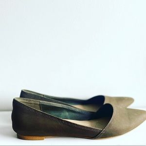 Aldo Size 8 Green Olive Pointed Ballet Flats